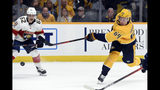 Nashville Predators center Mikael Granlund (64), of Finland, shoots the puck against the Florida Panthers during the second period of an NHL hockey game, Saturday, Oct. 19, 2019, in Nashville, Tenn. (AP Photo/Mark Zaleski)