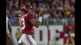 Alabama quarterback Tua Tagovailoa (13) throws during the first half of an NCAA college football game against Tennessee, Saturday, Oct. 19, 2019, in Tuscaloosa, Ala. (AP Photo/Vasha Hunt)