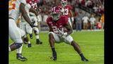 Alabama running back Brian Robinson Jr. (24) cuts inside against Tennessee during the first half of an NCAA college football game, Saturday, Oct. 19, 2019, in Tuscaloosa, Ala. (AP Photo/Vasha Hunt)