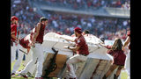 The Oklahoma Sooner Schooner flipped over during a touchdown celebration on the field during the first half of an NCAA college football game against West Virginia in Norman, Okla., Saturday, Oct. 19, 2019. (AP Photo/Alonzo Adams)
