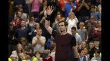 El británico Andy Murray reacciona tras ganar la final del Abierto Europeo contra Stan Wawrinka el domingo, 20 de octubre de 2019, en Amberes, Bélgica. (AP Foto/Francisco Seco)