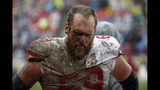 San Francisco 49ers offensive guard Mike Person walks on the sideline in the second half of an NFL football game against the Washington Redskins, Sunday, Oct. 20, 2019, in Landover, Md. (AP Photo/Alex Brandon)