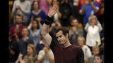 Andy Murray of Britain reacts after winning the European Open final tennis match in Antwerp, Belgium, Sunday, Oct. 20, 2019. Murray defeated Stan Wawrinka of Switzerland 3-6/6-4/6-4. (AP Photo/Francisco Seco)