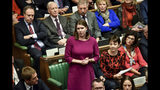 Britain's opposition Liberal Democrat party leader Jo Swinson speaks during the Brexit debate inside the House of Commons parliament in London Saturday Oct. 19, 2019. At the rare weekend sitting of Parliament, Prime Minister Boris Johnson implored legislators to ratify the Brexit deal he struck this week with the other 27 EU leaders. Lawmakers voted Saturday in favour of the 'Letwin Amendment', which seeks to avoid a no-deal Brexit on October 31. (Stephen Pike/House of Commons via AP)