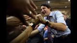 Liberal leader Justin Trudeau holds a rally in Vaughan, Ontario, on Friday, Oct. 18, 2019. (Sean Kilpatrick/The Canadian Press via AP)