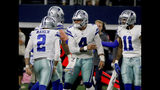 Dallas Cowboys' Brett Maher (2), Dak Prescott (4) and Ced Wilson (11) celebrate a 63 yard field goal kicked by Maher in the first half of an NFL football game against the Philadelphia Eagles in Arlington, Texas, Sunday, Oct. 20, 2019. (AP Photo/Michael Ainsworth)