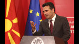 "North Macedonia's Prime Minister Zoran Zaev talks to the media during a news conference at the government building in Skopje, North Macedonia, Saturday, Oct. 19, 2019. North Macedonia's Prime Minister Zoran Zaev say he is ""disappointed and outraged"" with European Union's Council decision not to start membership talks with his country. (AP Photo/Boris Grdanoski)"