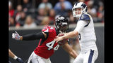 Los Angeles Rams quarterback Jared Goff (16) works in the pocket as Atlanta Falcons defensive end Vic Beasley (44) pursues during the first half of an NFL football game, Sunday, Oct. 20, 2019, in Atlanta. (AP Photo/John Bazemore)