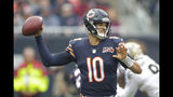 Chicago Bears quarterback Mitchell Trubisky (10) throws during the first half of an NFL football game against the New Orleans Saints in Chicago, Sunday, Oct. 20, 2019. (AP Photo/Michael Conroy)