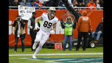 New Orleans Saints tight end Josh Hill (89) runs in for a touchdown against the Chicago Bears during the first half of an NFL football game in Chicago, Sunday, Oct. 20, 2019. (AP Photo/Charles Rex Arbogast)