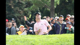 Justin Thomas of the United States watches his shot on the 17th hole during the final round of the CJ Cup PGA golf tournament at Nine Bridges on Jeju Island, South Korea, Sunday, Oct. 20, 2019. (Park Ji-ho/Yonhap via AP)