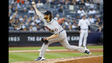 Houston Astros starting pitcher Gerrit Cole throws against the New York Yankees during the second inning in Game 3 of baseball's American League Championship Series Tuesday, Oct. 15, 2019, in New York. (AP Photo/Matt Slocum)