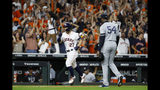 Houston Astros' Jose Altuve celebrates walk off against New York Yankees pitcher Aroldis Chapman to win Game 6 of baseball's American League Championship Series against the New York Yankees Saturday, Oct. 19, 2019, in Houston. The Astros won 6-4 to win the series 4-2. (AP Photo/Matt Slocum)