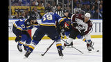 Colorado Avalanche's Tyson Jost, right, looks to get the puck past St. Louis Blues' Jay Bouwmeester (19) and Alex Pietrangelo (27) during the second period of an NHL hockey game Monday, Oct. 21, 2019, in St. Louis. (AP Photo/Scott Kane)
