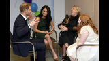 Britain's Prince Harry and Duchess of Sussex, left, meet with Milly Sutherland, right, and her mother Angela during the annual WellChild Awards in London, Tuesday Oct. 15, 2019. The WellChild Awards celebrate the inspiring qualities of some of the country's seriously ill young people.(Toby Melville/Pool via AP)
