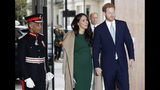 Britain's Prince Harry and Meghan, the Duke and Duchess of Sussex arrive to attend the WellChild Awards Ceremony in London, Tuesday, Oct. 15, 2019. The WellChild Awards celebrate the inspiring qualities of some of the country's seriously ill young people. (AP Photo/Kirsty Wigglesworth)