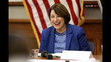 Presidential candidate U.S. Sen. Amy Klobuchar, D-MN., laughs during her roundtable with veterans at Carnegie-Stout Public Library in Dubuque on Saturday, Oct. 19, 2019.(Eileen Meslar/Telegraph Herald via AP)