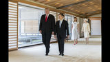 "FILE - In this May 27, 2019, file photo released by Imperial Household Agency of Japan, U.S. President Donald Trump, left, talks with Japan's Emperor Naruhito while first lady Melania Trump talks with Empress Masako, right, during their state call at the Imperial Palace in Tokyo. Japan is fully in a festive mood as Emperor Naruhito will perform his main ceremony on Tuesday, Oct. 22, proclaiming his ascension to the Chrysanthemum Throne. Naruhito, 59, has already been a fully-fledged emperor and received U.S. President Trump and other foreign dignitaries since succeeding the throne from his abdicated father Akihito and a new imperial era of ""Reiwa"" began in May. (Imperial Household Agency of Japan via AP, File)"