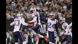 New England Patriots free safety Devin McCourty (32) celebrates with teammates Kyle Van Noy (53) and Stephon Gilmore (24) after intercepting a pass during the first half of an NFL football game against the New York Jets, Monday, Oct. 21, 2019, in East Rutherford, N.J. (AP Photo/Adam Hunger)
