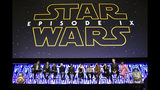 "FILE - In this April 12, 2019, file photo, Stephen Colbert, from left, J.J. Abrams, Kathleen Kennedy, Anthony Daniels, Billy Dee Williams, Daisy Ridley, John Boyega, Oscar Isaac, Kelly Marie Tran, Joonas Suotamo and Naomi Ackie participate in the ""Star Wars: The Rise of Skywalker"" panel on day 1 of the Star Wars Celebration at Wintrust Arena in Chicago. Disney on Monday, Oct. 21, debuted the final trailer for ""Star Wars: The Rise of Skywalker,"" the ninth installment in the ""Star Wars"" film franchise that tells the story of the powerful Skywalker family. (Photo by Rob Grabowski/Invision/AP, File)"