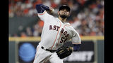 Houston Astros relief pitcher Roberto Osuna throws against the New York Yankees during the eighth inning in Game 2 of baseball's American League Championship Series Sunday, Oct. 13, 2019, in Houston. (AP Photo/Eric Gay)