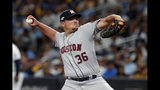 Houston Astros' Will Harris pitches against the Tampa Bay Rays in the eighth inning of Game 4 of a baseball American League Division Series, Tuesday, Oct. 8, 2019, in St. Petersburg, Fla. (AP Photo/Scott Audette)