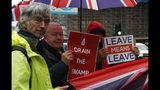 """En la imagen, manifestantes a favor del Brexit sostienen carteles y banderas ante el Parlamento británico en Londres, el lunes 21 de octubre de 2019. Los carteles dicen """"Drenad el pantano"""" y """"Salir significa salir"""". (AP Foto/Alastair Grant)"""
