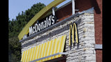 This Thursday, Oct. 17, 2019 photo shows the exterior of a McDonald's restaurant in Mebane, N.C. McDonald's reports financial earns on Tuesday, Oct. 22. (AP Photo/Gerry Broome)