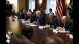 """FILE - In this Wednesday, Dec. 20, 2017 file photo, President Donald Trump prays during a cabinet meeting at the White House in Washington. From left are Secretary of Education Betsy DeVos, acting Health and Human Services Secretary Eric Hargan, Secretary of Interior Ryan Zinke, Secretary of State Rex Tillerson, Trump, Secretary of Defense Jim Mattis, and Commerce Secretary Wilbur Ross. An opening prayer at a Monday, Oct. 21, 2019 Cabinet meeting by Housing and Urban Development Secretary Ben Carson, who asserted that the separation of church and state """"doesn't mean that they cannot work together,"""" is raising new alarms among advocates for the non-religious _ adding to a growing list of Trump administration efforts to infuse religion into its rhetoric and policymaking. (AP Photo/Evan Vucci)"""