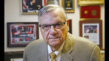 FILE - In this Aug. 26, 2019, file photo, former Arizona Maricopa County Sheriff Joe Arpaio poses for a portrait after talking about trying to get back the job he lost in 2016 as he announces his 2020 campaign for Maricopa County Sheriff in Fountain Hills, Ariz. An appeals court will hear arguments Wednesday, Oct. 23, in Arpaio's bid to erase his now-pardoned contempt of court conviction from his record. (AP Photo/Ross D. Franklin, File)