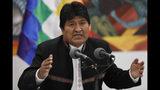 El presidente de Bolivia, Evo Morales, habla durante una conferencia de prensa en el palacio presidencial en La Paz, el miércoles 23 de octubre de 2019. (AP Foto / Juan Karita)
