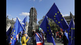 Anti Brexit demonstrators wave European Union flags outside Parliament in London, Tuesday, Oct. 22, 2019.British lawmakers from across the political spectrum were plotting Tuesday to put the brakes on Prime Minister Boris Johnson's drive to push his European Union divorce bill through the House of Commons in just three days, potentially scuttling the government's hopes of delivering Brexit by Oct. 31.(AP Photo/Kirsty Wigglesworth)