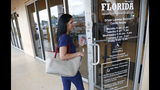 A woman enters a Florida Highway Safety and Motor Vehicles drivers license service center, Tuesday, Oct. 8, 2019, in Hialeah, Fla. The U.S. Census Bureau has asked the 50 states for drivers' license information, months after President Donald Trump ordered the collection of citizenship information. (AP Photo/Wilfredo Lee)