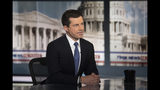 Democratic presidential candidate South Bend Mayor Pete Buttigieg is interviewed by FOX News Sunday anchor Chris Wallace, Sunday morning, Oct. 20, 2019, in Washington. (AP Photo/Kevin Wolf)