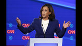 In this Oct. 15, 2019, photo, Democratic presidential candidate Sen. Kamala Harris, D-Calif., speaks in a Democratic presidential primary debate at Otterbein University in Westerville, Ohio. Harris and two of her Democratic Senate colleagues are trying to force the Trump administration to release documents related to the Ukraine investigation through the federal Freedom of Information Act. Harris, Richard Blumenthal of Connecticut and Sheldon Whitehouse of Rhode Island will file an information request Wednesday, Oct. 23 with the Department of Justice. It seeks documents related to Ukraine, China and justice department investigations into President Donald Trump's political rivals. (AP Photo/John Minchillo)