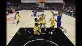 Los Angeles Clippers' Kawhi Leonard, right, dunks against the Los Angeles Lakers during the first half of an NBA basketball game Tuesday, Oct. 22, 2019, in Los Angeles. (AP Photo/Marcio Jose Sanchez)