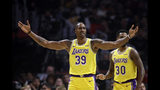 Los Angeles Lakers' Dwight Howard (39) argues a call against him during the the first half of the team's NBA basketball game against the Los Angeles Clippers on Tuesday, Oct. 22, 2019, in Los Angeles. (AP Photo/Marcio Jose Sanchez)