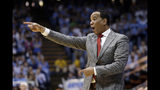 FILE - In this Feb. 5, 2019, file photo, North Carolina State head coach Kevin Keatts reacts during the first half of an NCAA college basketball game against North Carolina, in Chapel Hill, N.C. Keatts is trying to lead N.C. State to the NCAA Tournament for a second time in his three seasons. (AP Photo/Gerry Broome, File)