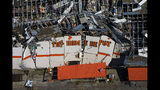 The destroyed Home Depot store at 11682 Forest Central Drive is seen in an aerial view of tornado damage on Monday, Oct. 21, 2019, in Dallas. (Smiley N. Pool/The Dallas Morning News via AP)