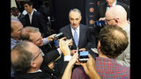 MLB commissioner Robert D. Manfred Jr. talks to the media before Game 2 of the baseball World Series between the Houston Astros and the Washington Nationals Wednesday, Oct. 23, 2019, in Houston. (AP Photo/David J. Phillip)