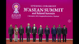 From left, Malaysian Prime Minister Mahathir Mohamad, Myanmar leader Aung San Suu Kyi, Philippines President Rodrigo Duterte, Singaporean Prime Minister Lee Hsien Loong, Thailand Prime Minister Prayuth Chan-ocha, Vietnam Prime Minister Nguyen Xuan Phuc, Brunei Sultan Hassanal Bolkiah, Cambodian Prime Minister Hun Sen, Indonesian President Joko Widodo and Laos Prime Minister Thongloun Sisoulith pose for a group photo during the opening ceremony of the 35th Association of Southeast Asian Nations (ASEAN) meeting in Nonthaburi, Thailand Sunday, Nov. 3, 2019. (AP Photo/Sakchai Lalit)