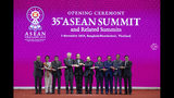 From left, Malaysian Prime Minister Mahathir Mohamad, Myanmar leader Aung San Suu Kyi, Philippines President Rodrigo Duterte, Singaporean Prime Minister Lee Hsien Loong, Thailand Prime Minister Prayuth Chan-ocha ,Vietnam Prime Minister Nguyen Xuan Phuc, Brunei Sultan Hassanal Bolkiah, Cambodian Prime Minister Hun Sen, Indonesian President Joko Widodo and Laos Prime Minister Thongloun Sisoulith pose for a group photo during the opening ceremony of the 35th Association of Southeast Asian Nations (ASEAN) meeting in Nonthaburi, Thailand Sunday, Nov. 3, 2019. (AP Photo/Sakchai Lalit)