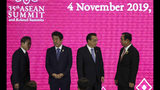 From left, South Korean President Moon Jae-in, Japanese Prime Minister Shinzo Abe, Chinese Premier Li Keqiang and Thailand Prime Minister Prayuth Chan-ocha prepare to pose for a group photo at the Association of Southeast Asian Nations ASEAN Plus Three summit in Nonthaburi, Thailand, Monday, Nov. 4, 2019. (AP Photo/Aijaz Rahi)