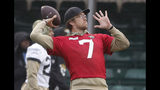 Jaguars QB Nick Foles throws during a NFL training session of the Jacksonville Jaguars at the at Allianz Park in London, Friday, Nov. 1, 2019.The Jacksonville Jaguars are preparing for an NFL regular season game against the Houston Texans in London on Sunday. (AP Photo/Frank Augstein)