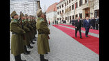 Hungarian Prime Minister Viktor Orban, right, and Turkish President Recep Tayyip Erdogan inspect a military honour guard, in Budapest, Hungary, Thursday, Nov. 7, 2019. Erdogan is on a one-day state visit to Hungary. (Presidential Press Service via AP, Pool)