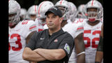 FILE - In this Sept. 28, 2019, file photo, Ohio State head coach Ryan Day waits with his players before taking the field for an NCAA college football game against Nebraska, in Lincoln, Neb. One year ago, Maryland took Ohio State into overtime before a failed 2-point conversion resulted in a 52-51 defeat. In the rematch Saturday, the Terrapins are a 43-point underdog.(AP Photo/Nati Harnik, File)