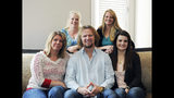 "FILE - In this July 10, 2013, file photo, Kody Brown of ""Sister Wives,"" a popular TV reality series about a polygamous family, poses with his wives, at one of their previous homes in Las Vegas. The recent slaying in Mexico of nine people who belonged to a Mormon offshoot community where some people practice polygamy shines a new spotlight on the ongoing struggle for the mainstream church to fight the association with plural marriage groups because of its past. ( Jerry Henkel/Las Vegas Review-Journal via AP, File)"