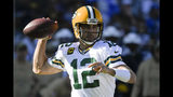 Green Bay Packers quarterback Aaron Rodgers passes against the Los Angeles Chargers during the first half of an NFL football game Sunday, Nov. 3, 2019, in Carson, Calif. (AP Photo/Mark J. Terrill)