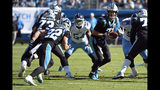 Carolina Panthers quarterback Kyle Allen (7) looks to hand off to running back Christian McCaffrey (22) during the first half of an NFL football game against the Tennessee Titans in Charlotte, N.C., Sunday, Nov. 3, 2019. (AP Photo/Mike McCarn)
