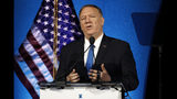 FILE - In this Oct. 22, 2019, file photo, Secretary of State Mike Pompeo speaks at the Heritage Foundation's annual President's Club Meeting in Washington. The United States has told the United Nations it has begun the process of pulling out of the landmark 2015 Paris climate agreement. Pompeo said Monday that he submitted a formal notice to the United Nations. (AP Photo/Patrick Semansky, File)